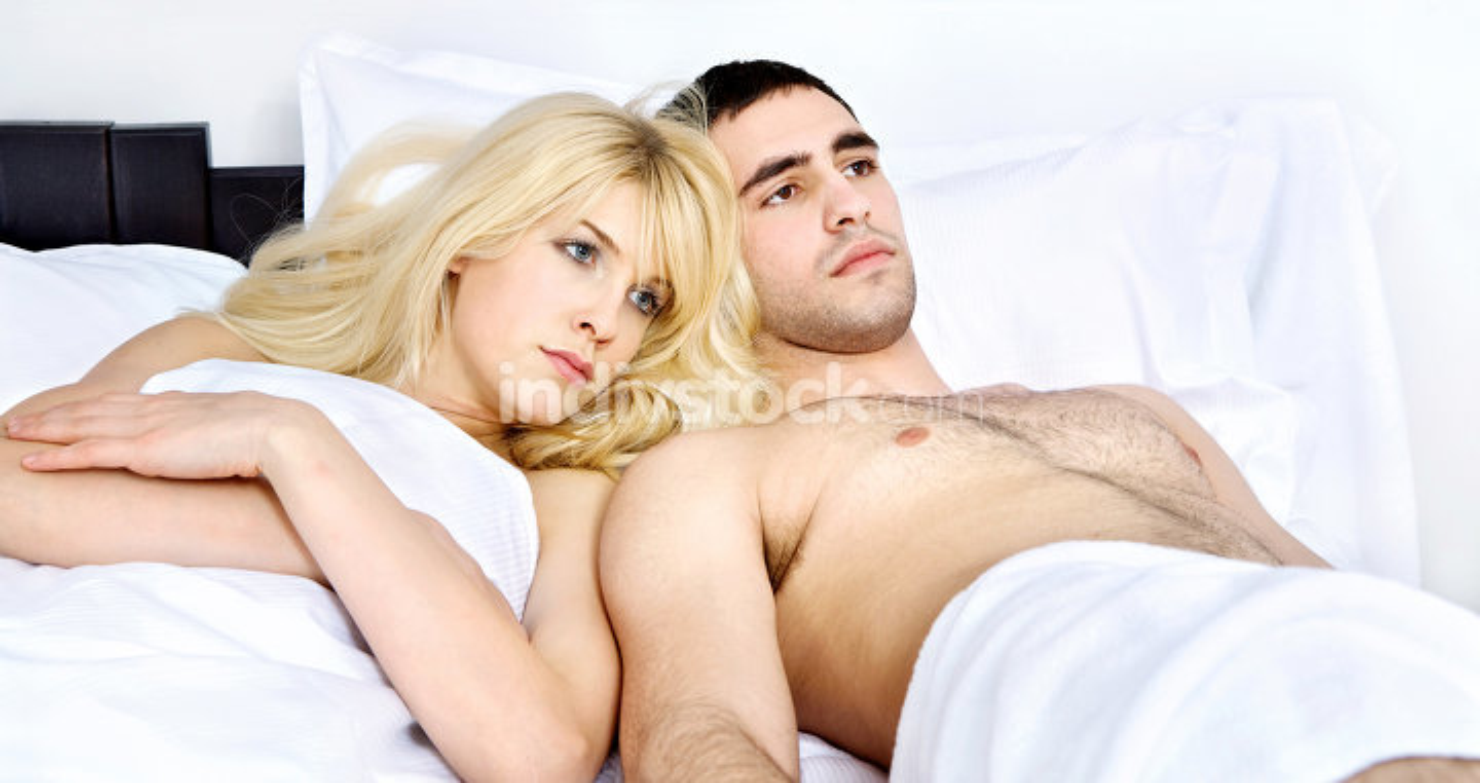 couple breaking up in bedroom