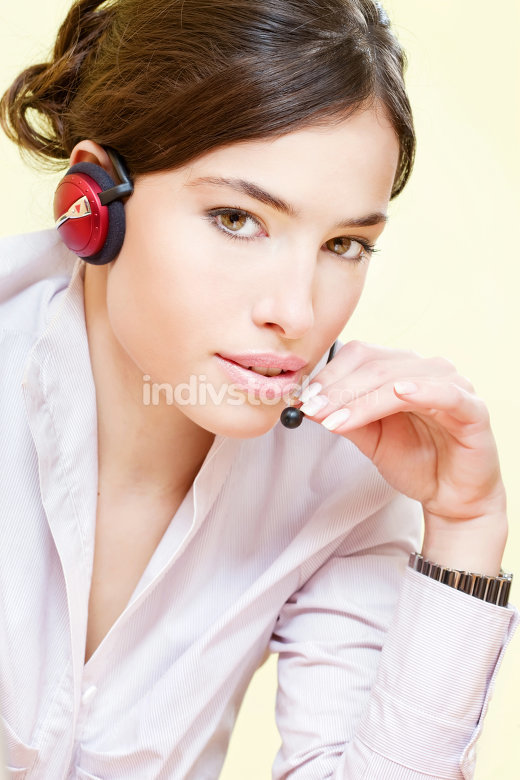 female operater with headphones