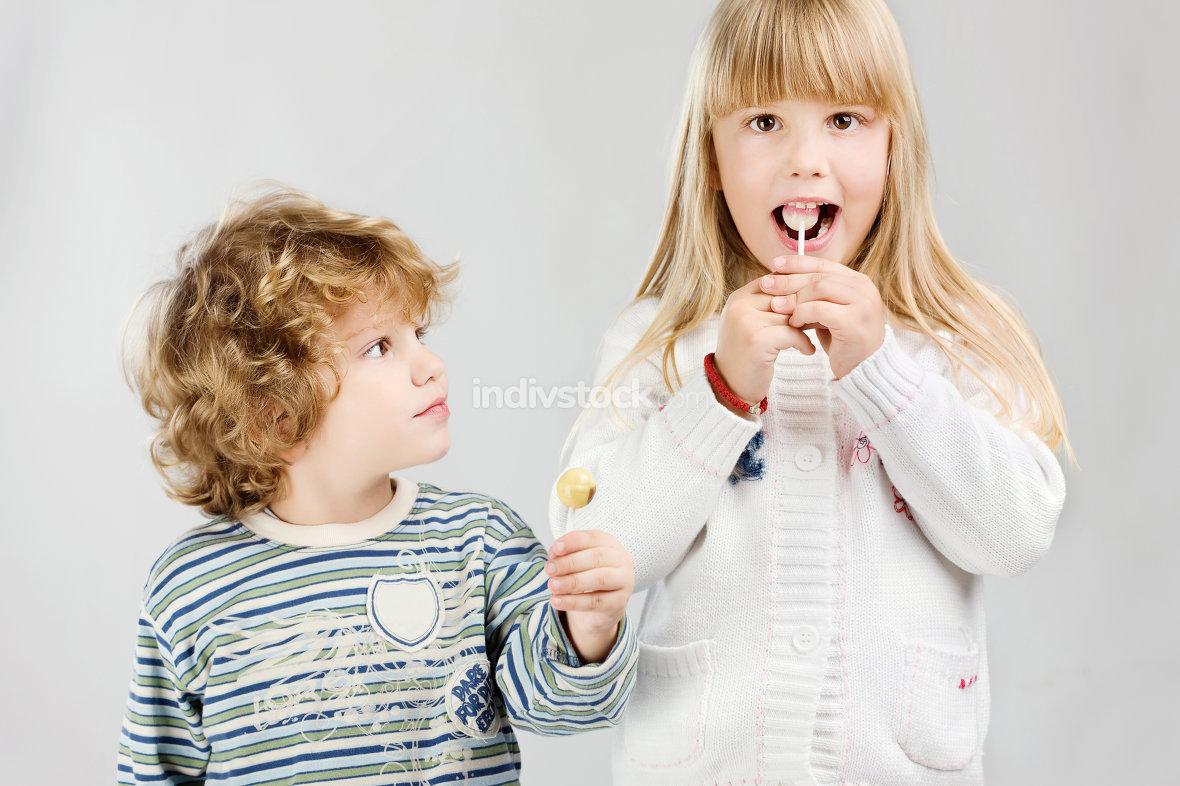 Kids and lollipop