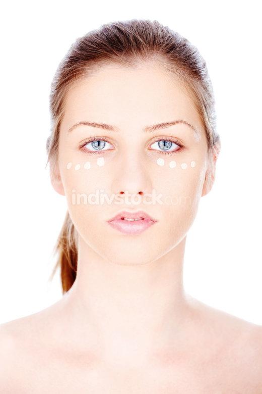 Liquid powder on woman