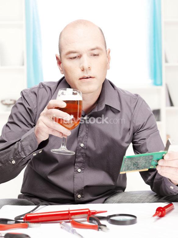 man doing minor repairs at home