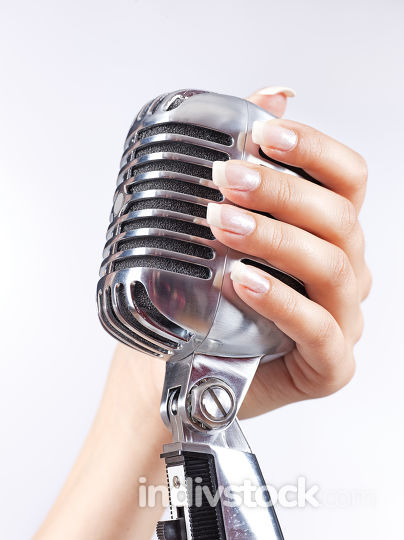 microphone in woman