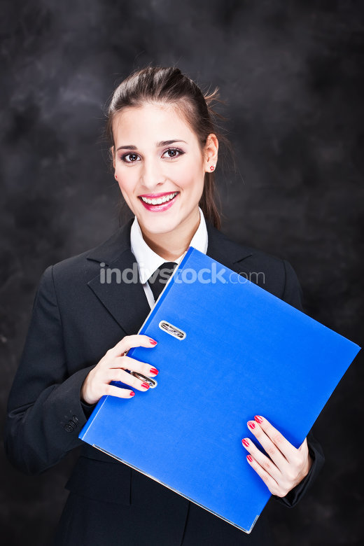 miled business woman with files