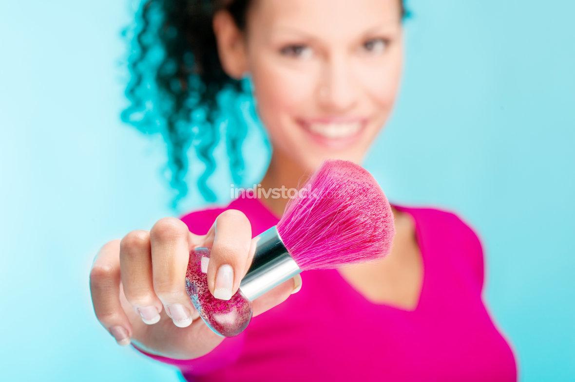 powder brush and woman