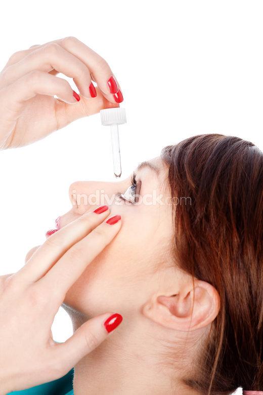 Putting drops in eye