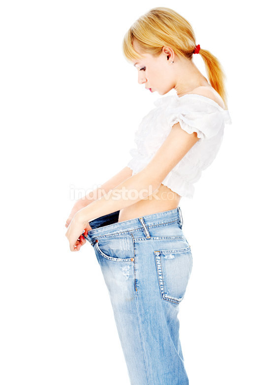 Thin lady after her diet lost kilograms
