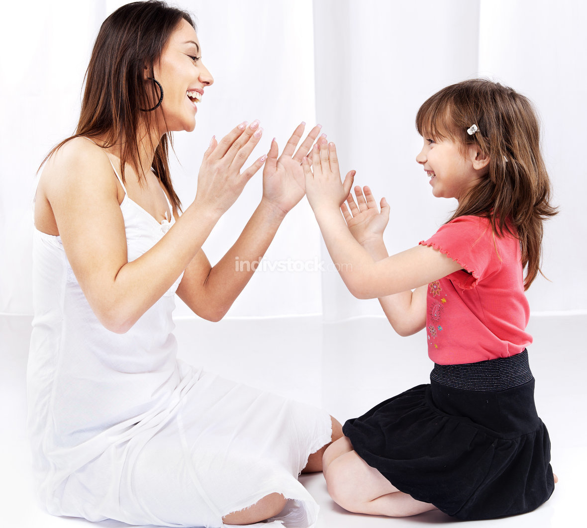 Woman and child laughing