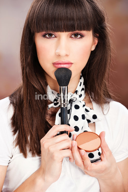 Woman and cosmetic make up