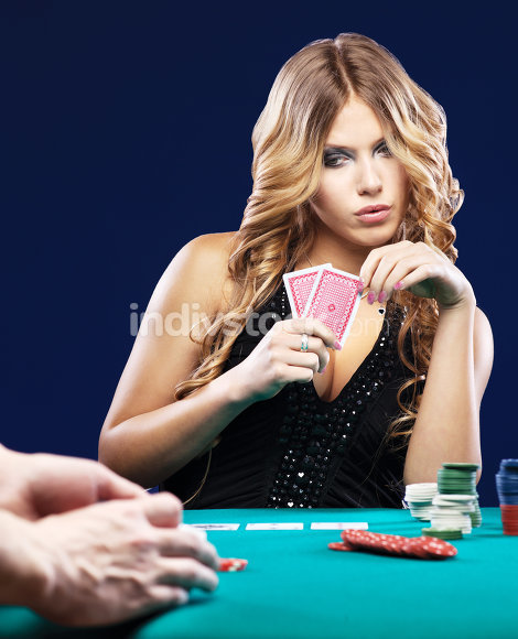 Woman doubt in gambling match
