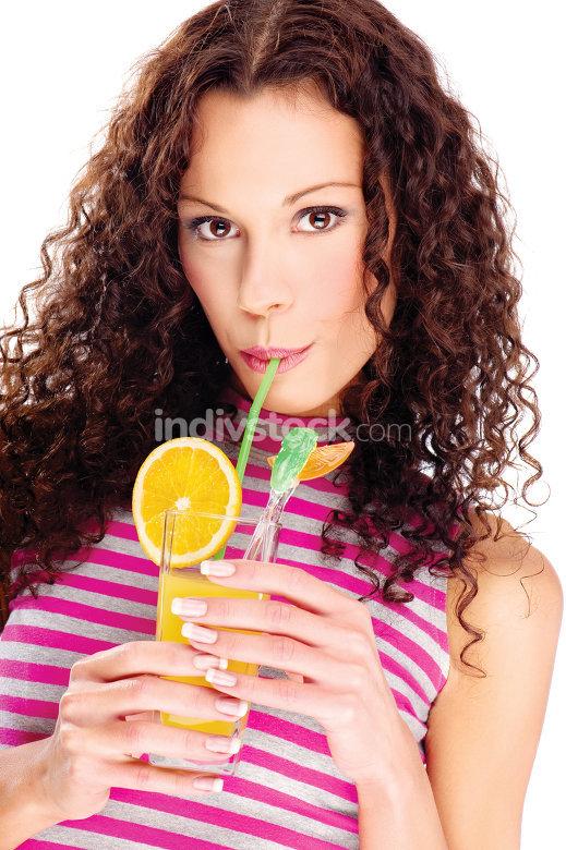 woman drink orange juice, isolated