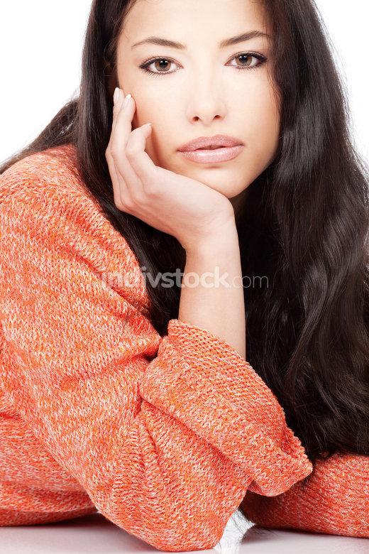 woman in wool sweater