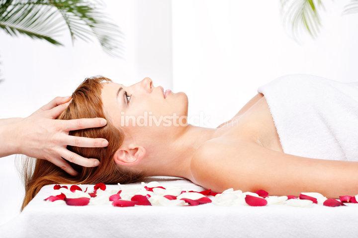 woman on head massage treatment