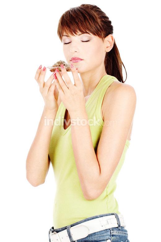 Woman smelling tea