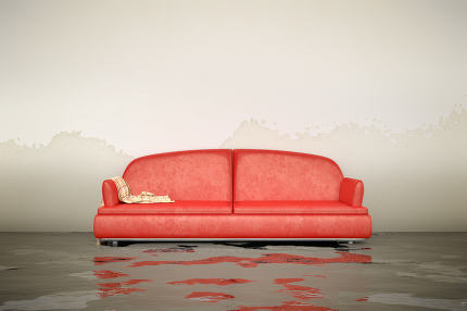 3d rendering of a water damage sofa