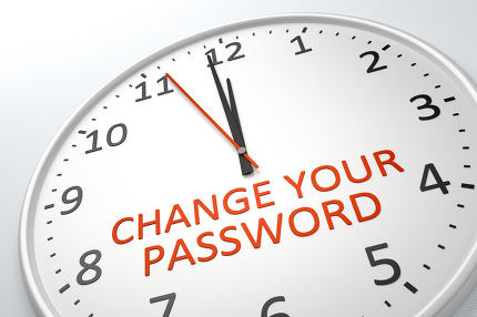 clock with text change your password