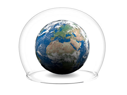 Earth inside glass bowl. Elements of this image furnished by NASA
