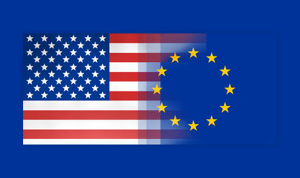 free download: USA and Europe flags background concept
