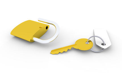 Golden key and padlock