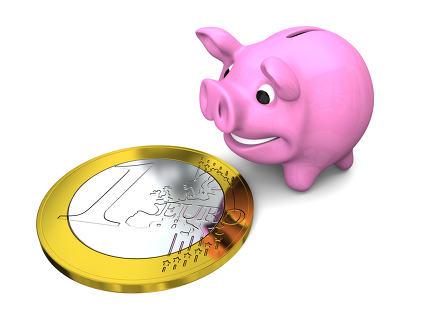 Piggy bank with Euro coin