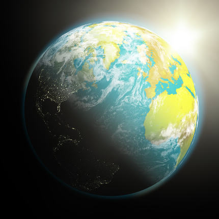Sun rising over Earth. Elements of this image furnished by NASA.