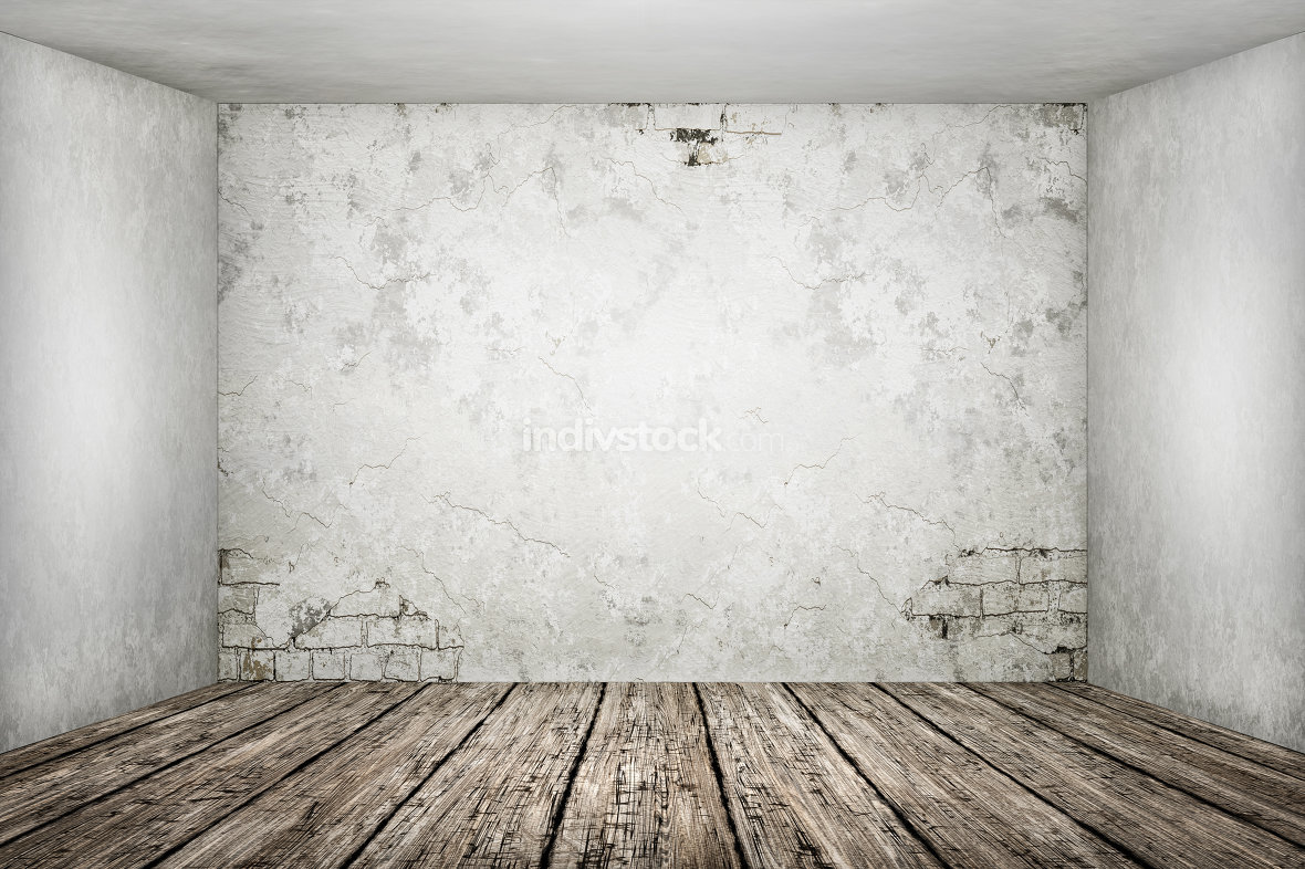 3d rendering of a old empty room for your content