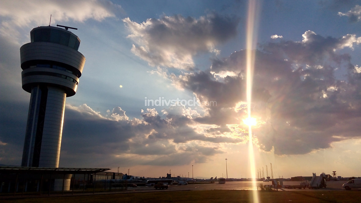 Airport control tower at dramatic sunset in Sofia, Bulgaria