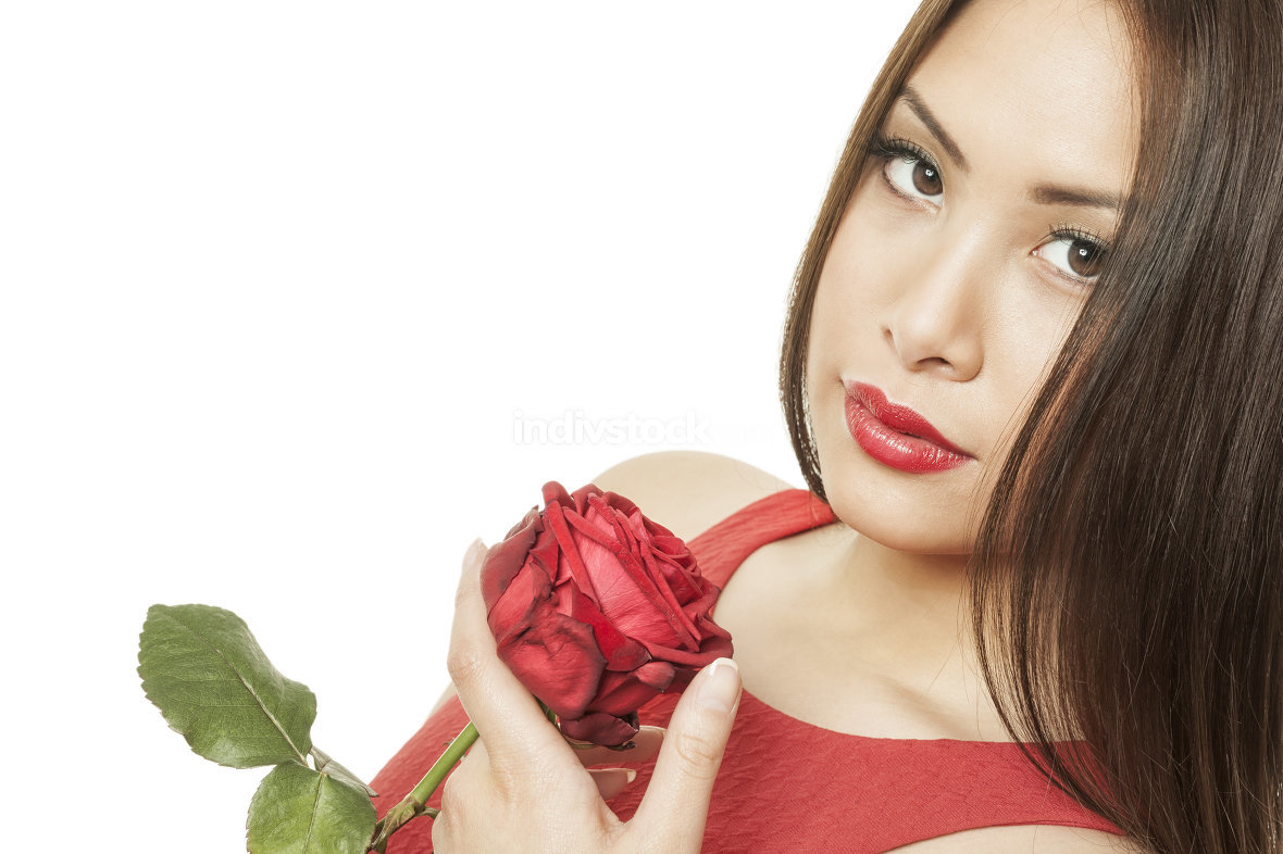 asian woman red rose