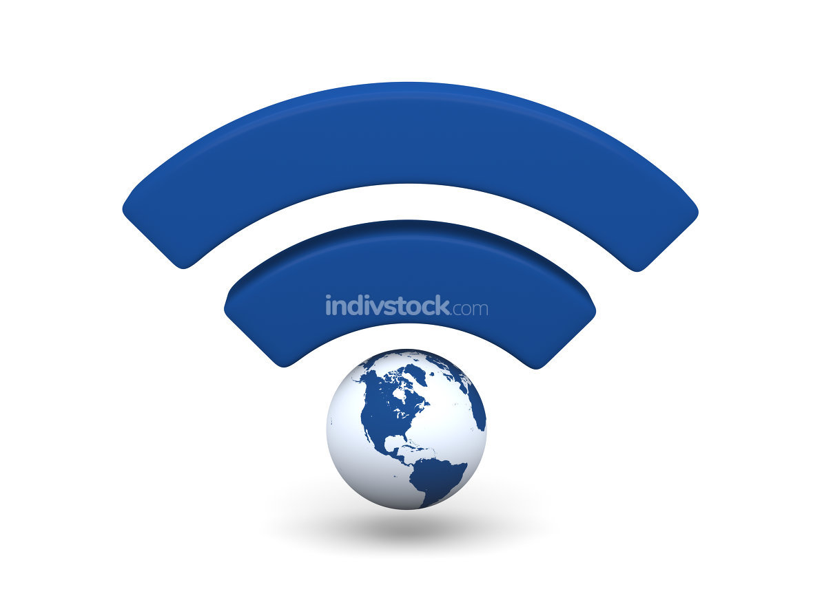 Blue WiFi symbol. Elements of this image furnished by NASA.
