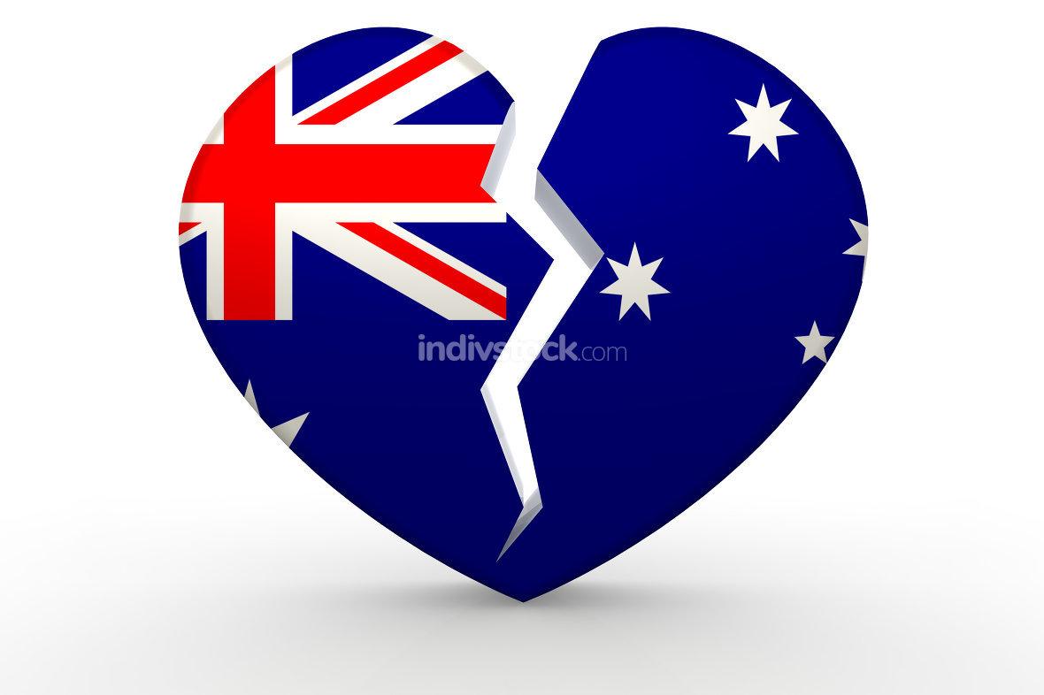 Broken white heart shape with Australia flag