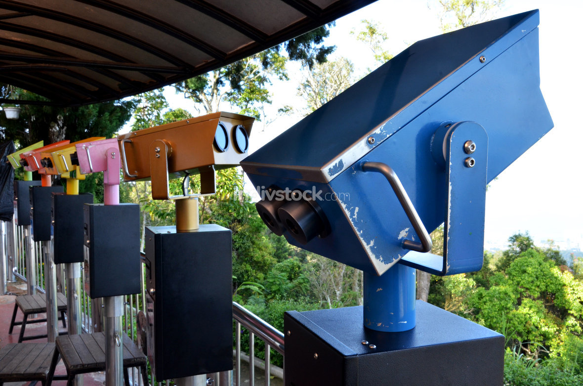 Colorful telescope viewer at Penang Hills