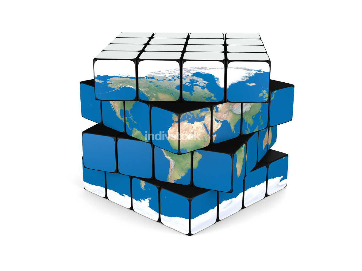 Earth cube. Elements of this image furnished by NASA.