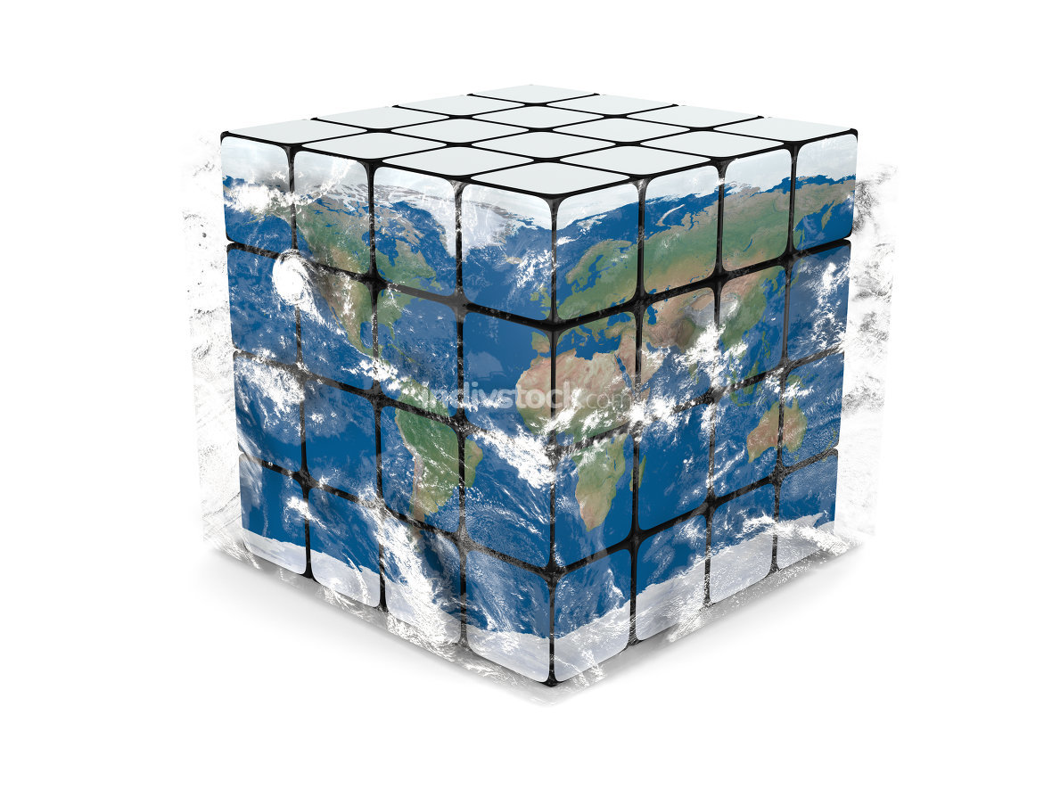 Earth cube with atmosphere. Elements of this image furnished by NASA.