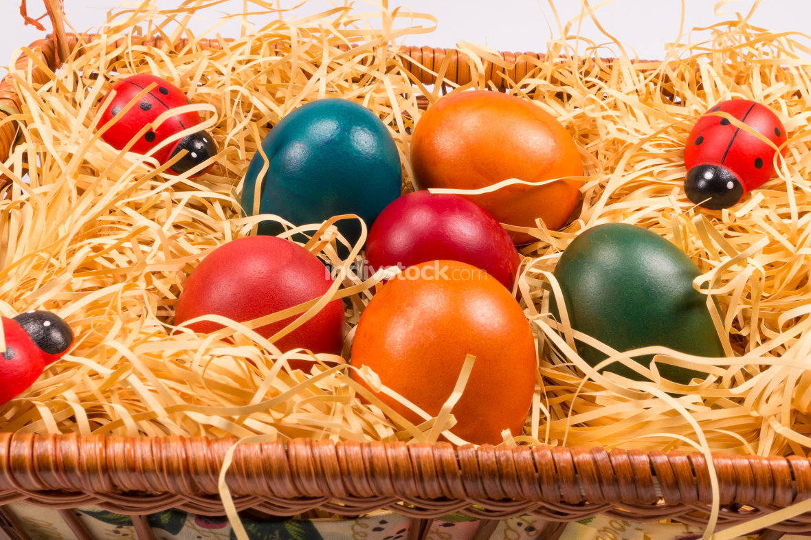 Easter eggs in wicker basket on white