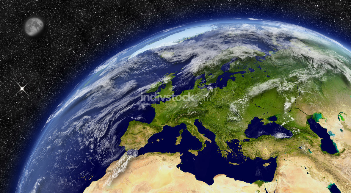 Europe on planet Earth. Elements of this image furnished by NASA.