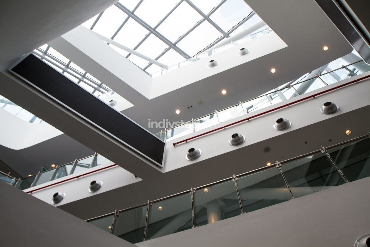free download: interior detail of modern building with glass windows