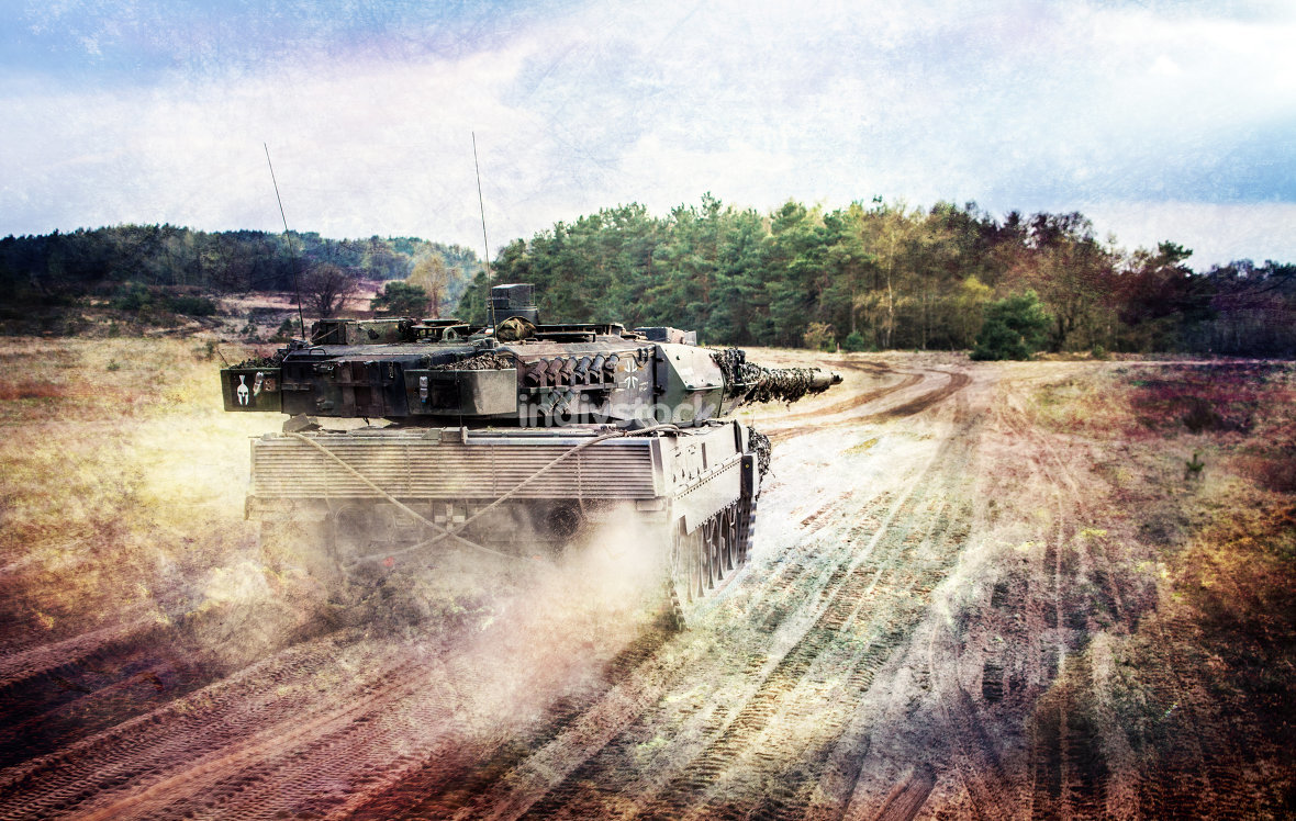 german main battle tank drives to position