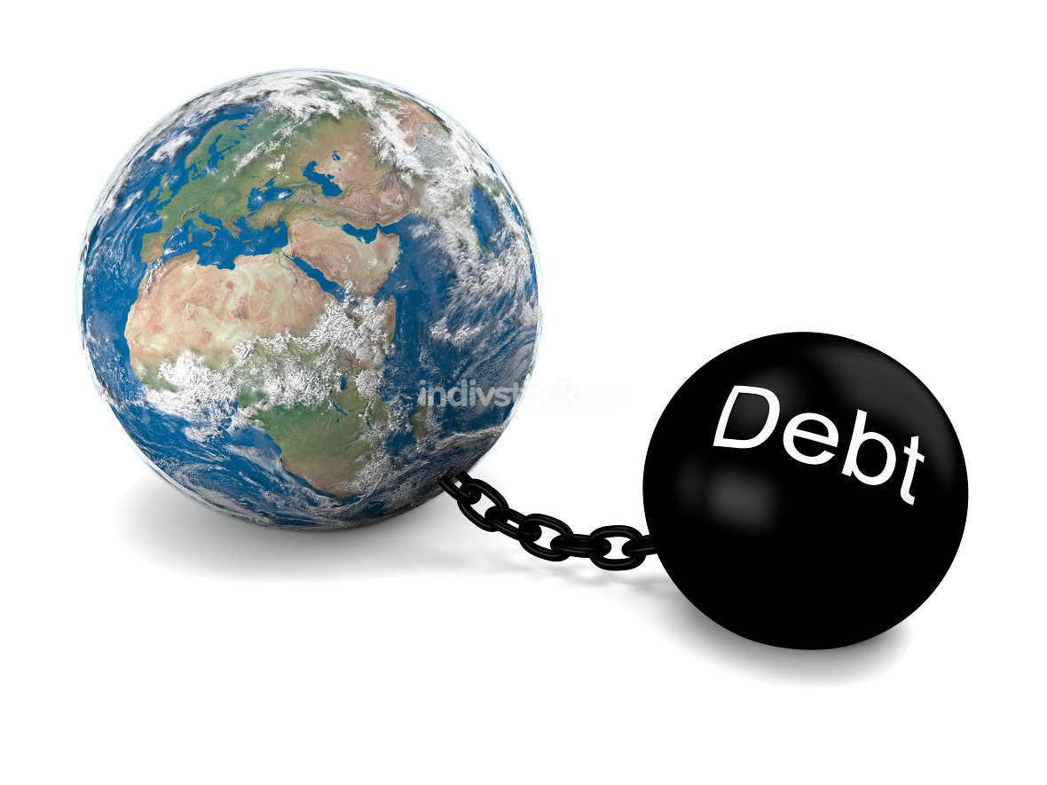 Global debt. Elements of this image furnished by NASA