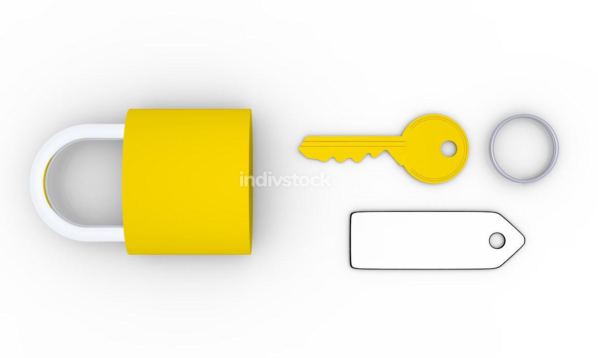 Golden key and padlock