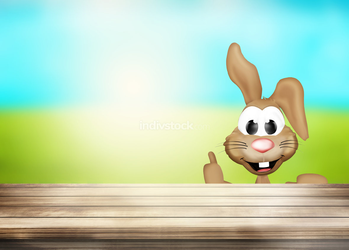 Happy Easter Bunny woden desk table