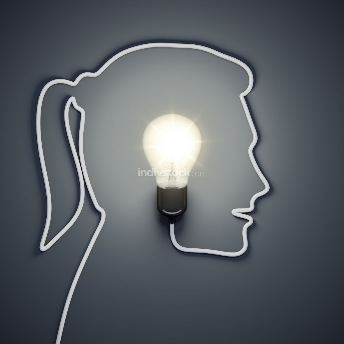 light bulb inside a female head
