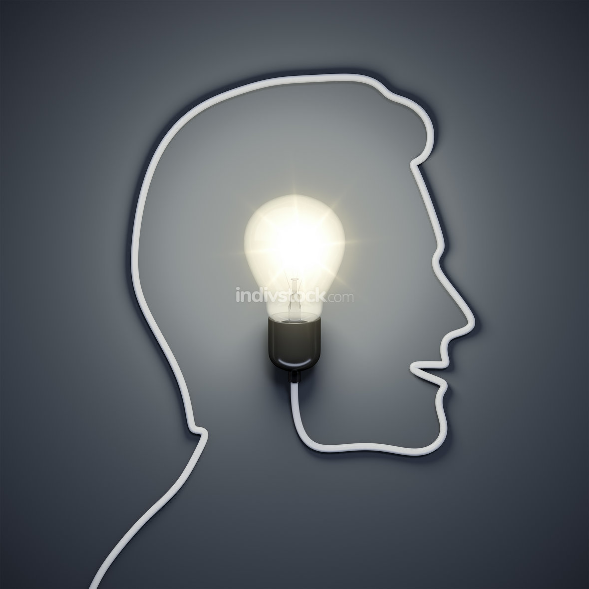 light bulb inside a male head