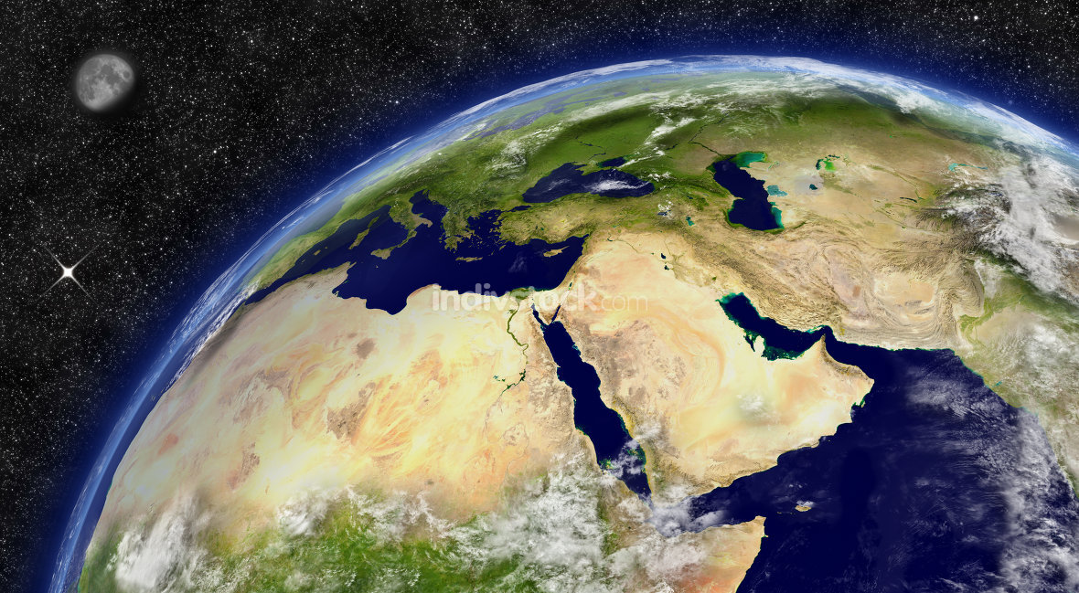Middle East on planet Earth. Elements of this image furnished by NASA.