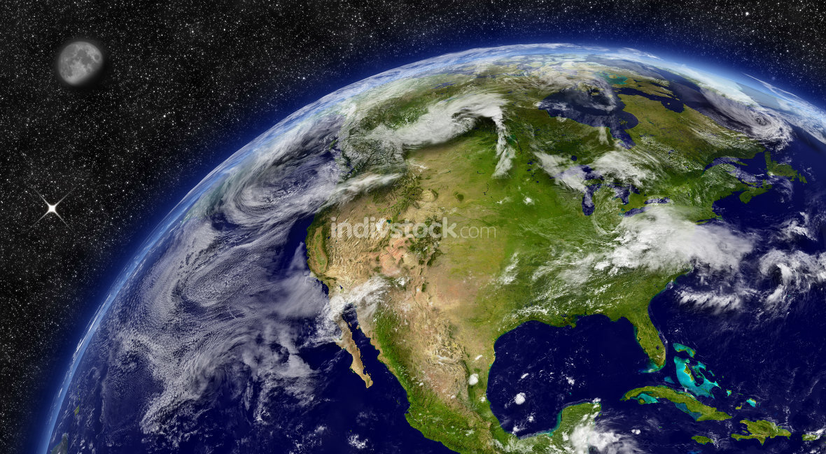 North America on planet Earth. Elements of this image furnished by NASA.
