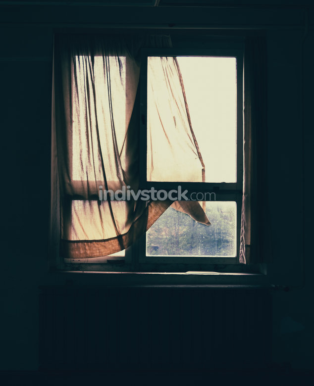 old window with curtain III