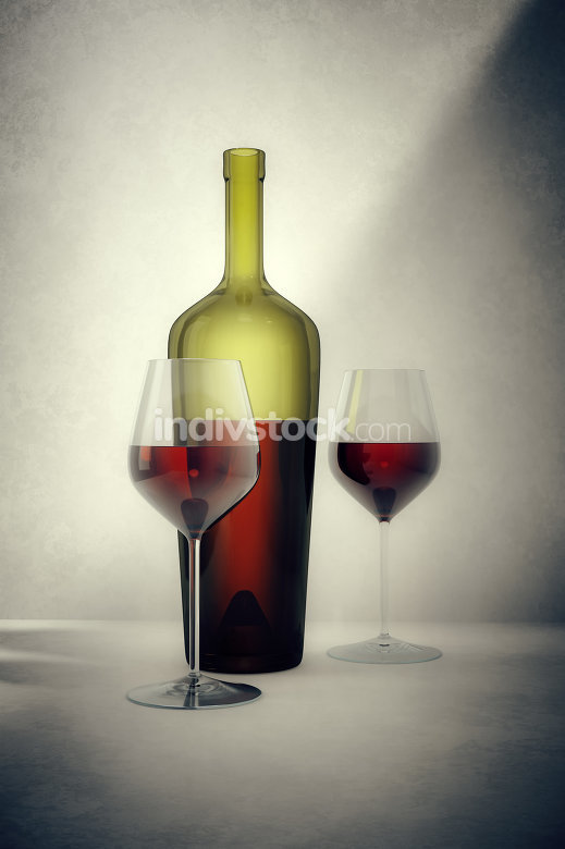 red wine bottle with two glasses