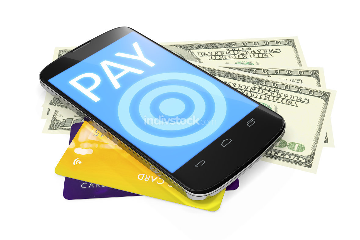 smartphone, dollar notes and credit cards for mobile payment
