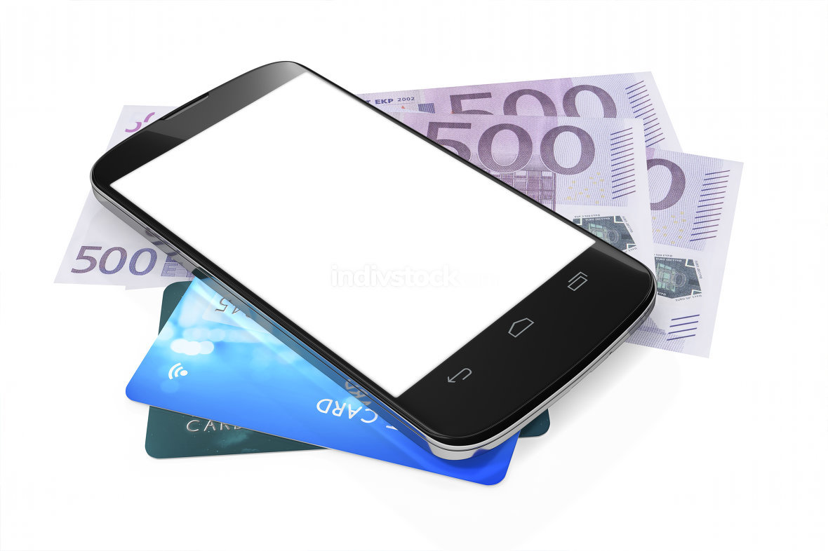 smartphone, euro notes and credit cards for mobile payment