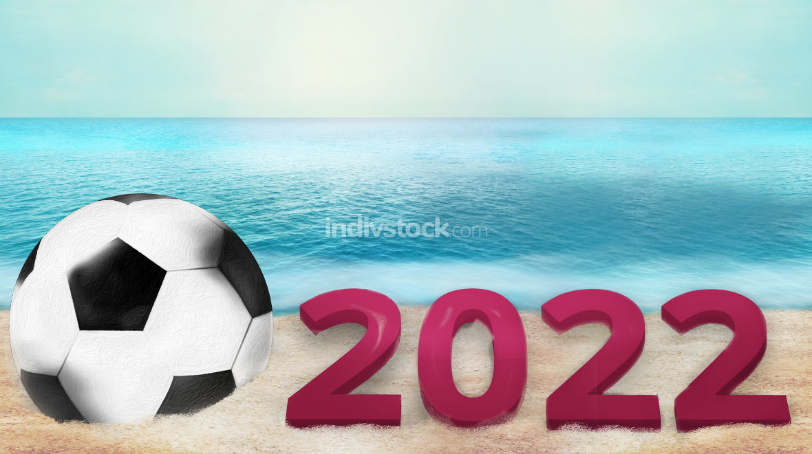 soccer football 3d render with sand and water photo background