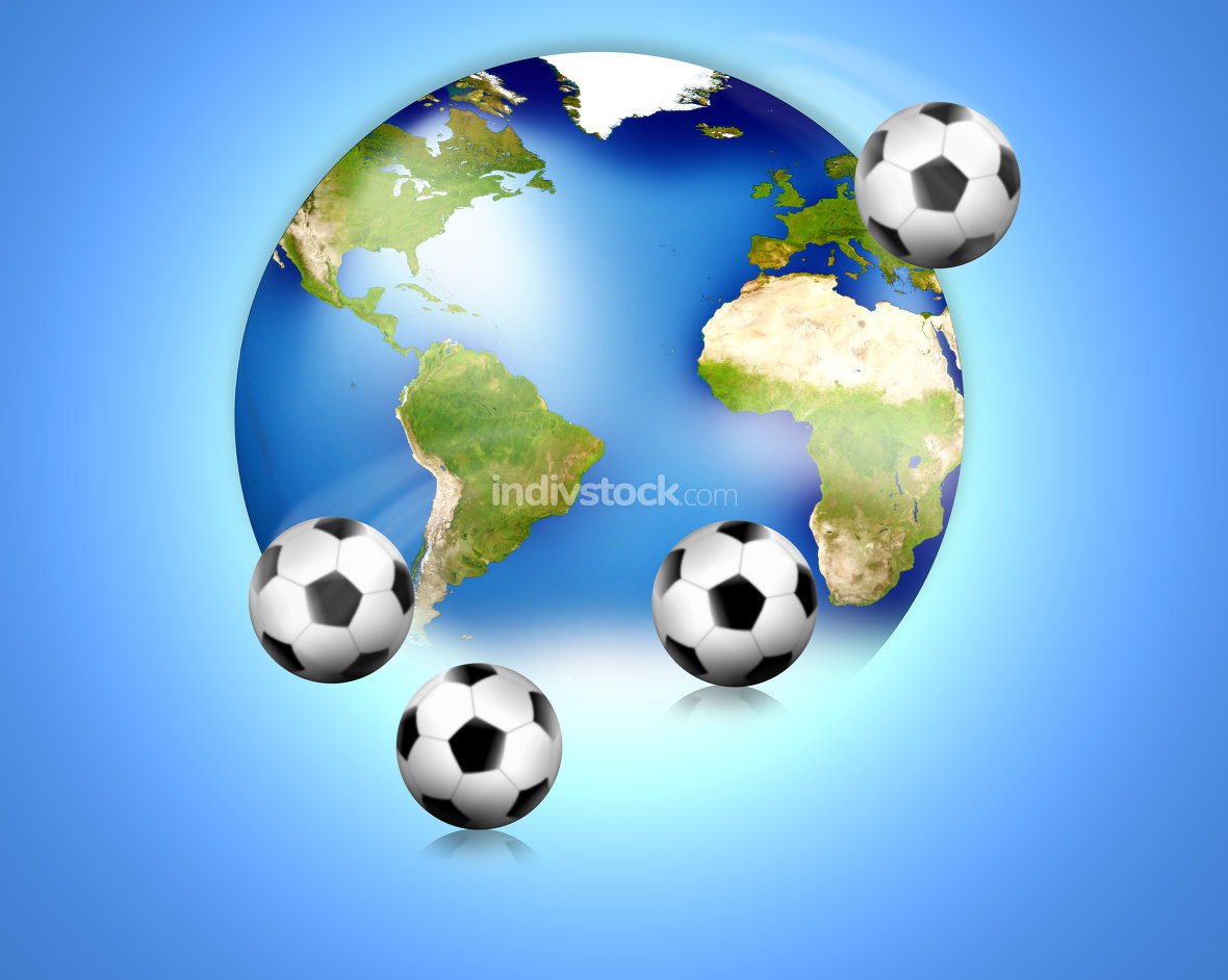 Soccer football world balls 3D Render. Elements of this image furnished by NASA