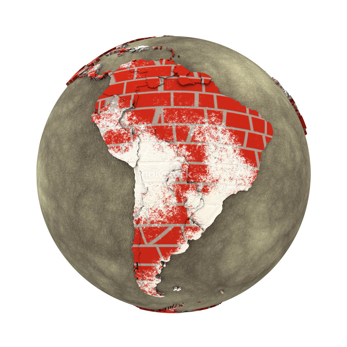 South America on brick wall Earth